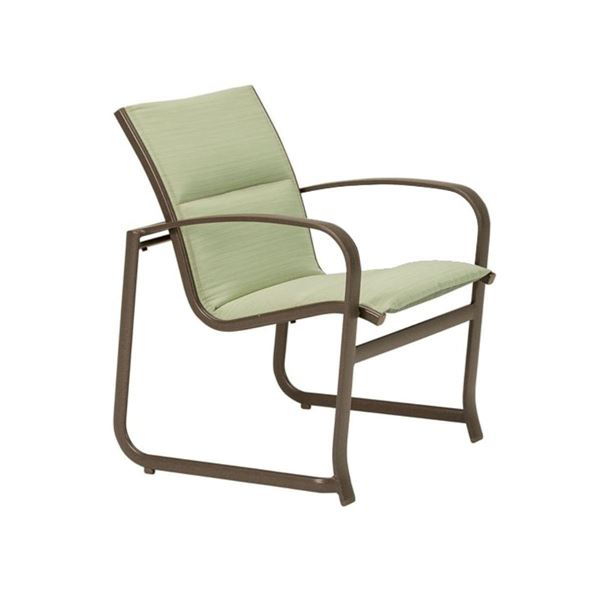 Tropitone Spinnaker Padded Sling Patio Dining Chair with Sled Base