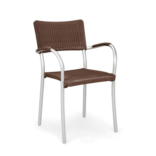 Picture of SALE! Artica Plastic Resin with Aluminum Frame Stacking Arm Chair, 7 lbs. Caffe Seat with Silver Legs.