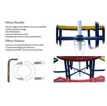 Picture of UBrace® Umbrella Brace for use with a table and umbrella to prevent flying umbrellas