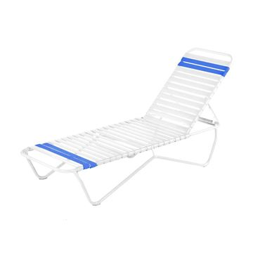 Quick Ship Pool Furniture, St. Lucia Chaise Lounge Vinyl Strap With Aluminum Frame, All White