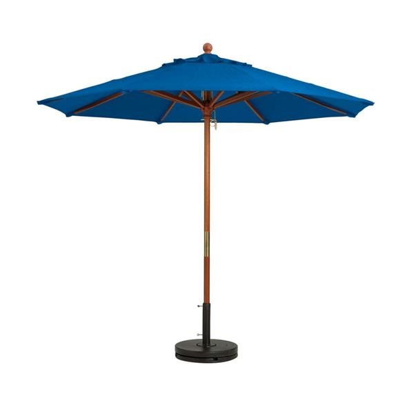 7 Foot Market Umbrella Octagon with Two-Piece Wood Pole - Pacific Blue