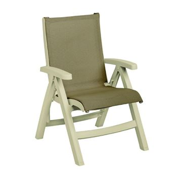 Belize Plastic Resin Folding Sling Arm Chair - Khaki / Teakwood