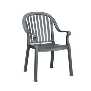 Colombo Plastic Resin Stacking Armchair - Charcoal