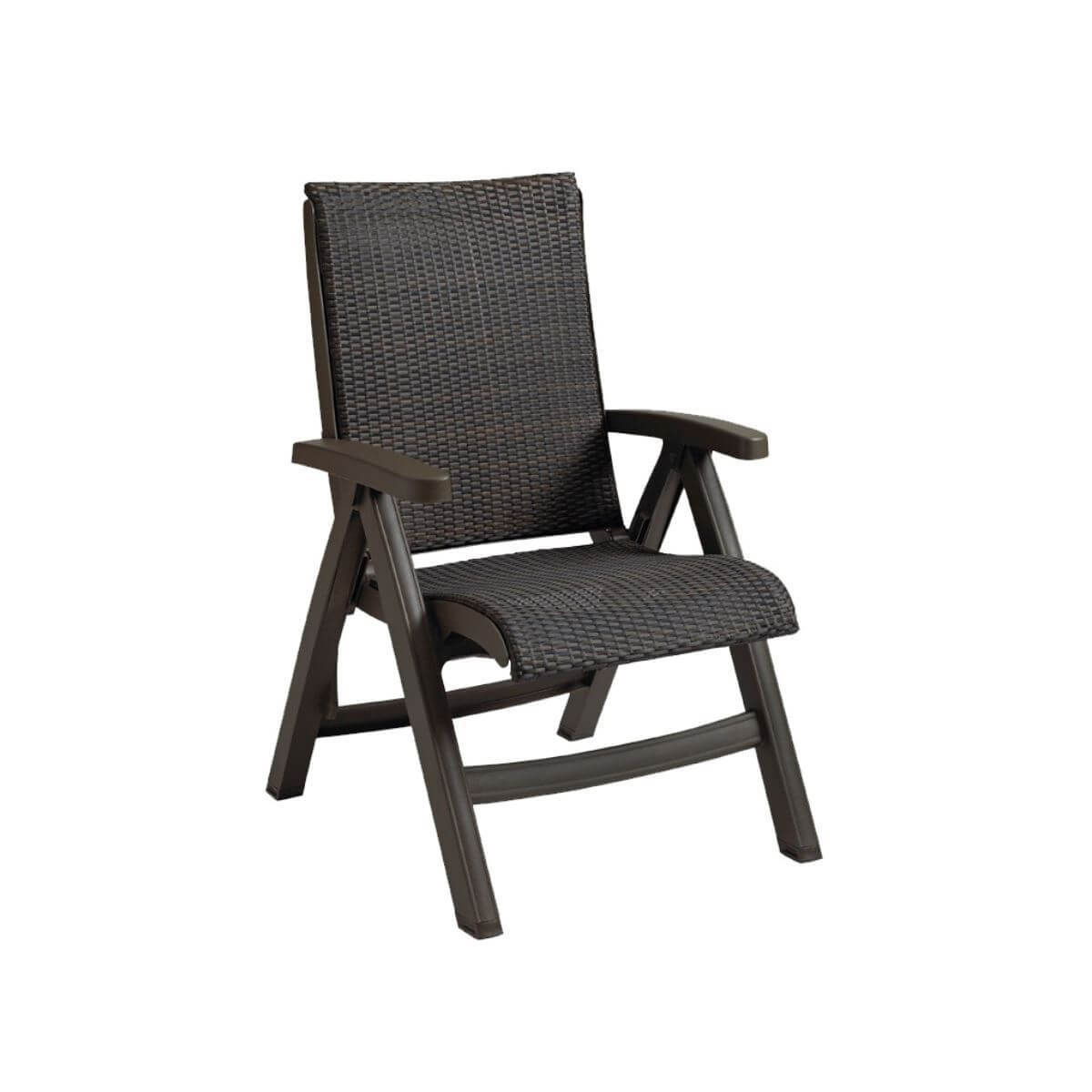 Java All Weather Wicker Folding Chair Espresso
