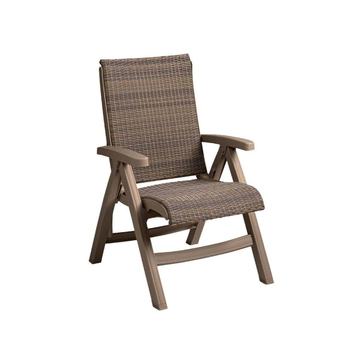 Java All Weather Wicker Folding Chair Stackable 21 Lbs