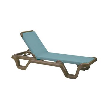 Marina Plastic Resin Sling Stackable Chaise Lounge - Blue