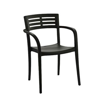 Vogue Stacking Arm Chair, Air Modeled Plastic, 10 Lbs.