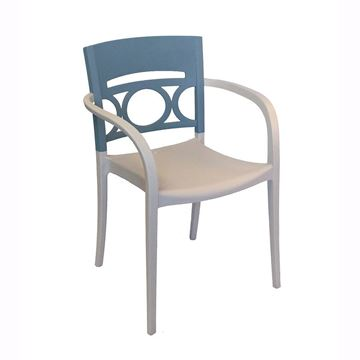 Moon Stacking Outdoor Dining Armchair, Air Modeled Plastic