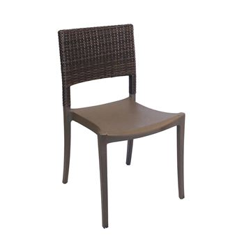 Java Stacking Outdoor Dining Chair, Air Modeled Plastic With Wicker Back