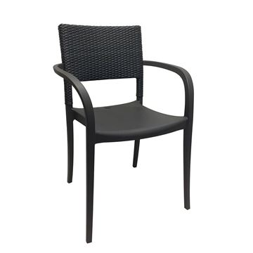 Java Stacking Outdoor Armrest Dining Chair, Air Modeled Plastic With Wicker Back