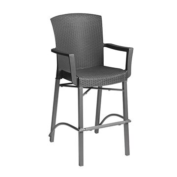 Havana Simulated Wicker Resin Bar Height Chair With Arms