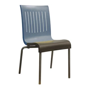 Viva Stacking Chair With Two Toned Plastic Resin Seat And Aluminum Legs