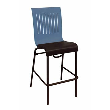 Viva Stacking Bar Chair With Two Toned Plastic Resin Seat And Aluminum Legs