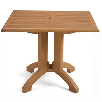 "Atlanta 32"" Square Pedestal Table With Umbrella Hole"