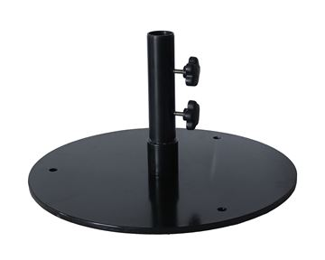 "50 LB. Flat 20"" Round Black Umbrella Base – For Under Table Use Or Surface Mount"