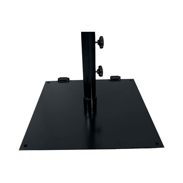 "75 LB. Flat 24"" Square Black Umbrella Base – Freestanding For Umbrellas Up To 7.5 Ft Or Surface Mount"