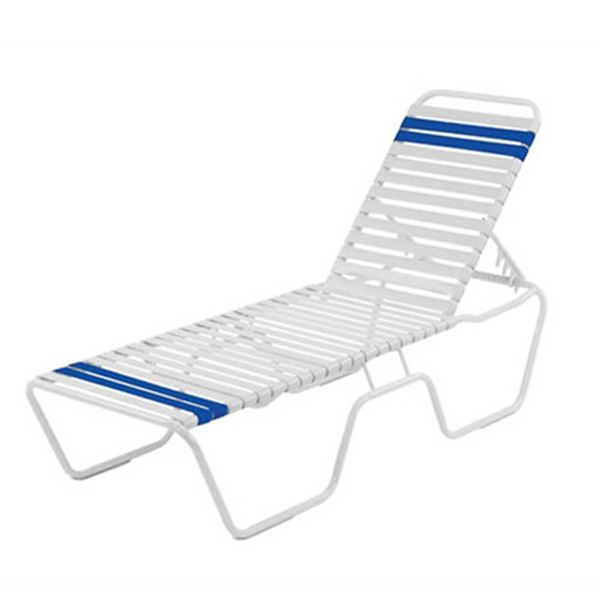 Promo Pool Furniture, St. Maarten Chaise Lounge Vinyl Straps With White Aluminum Frame, White Or Royal Blue Straps