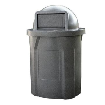 42 Gallon Pool Round Deck Trash Can With Dome Top Lid & Liner