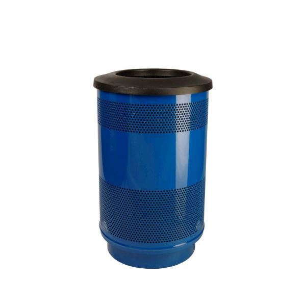Round 55 Gallon Stadium Series Steel Trash Can with Liner, 86 lbs.
