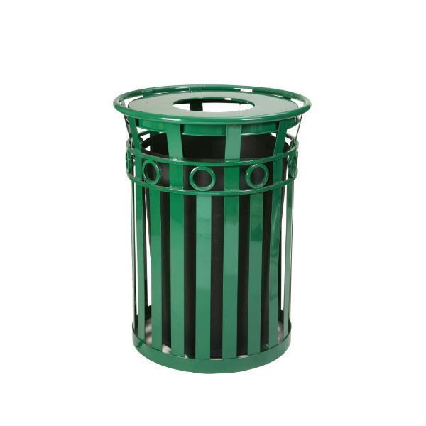 Round 36 Gallon Oakley Series Decorative Steel Powder Coated Trash Can with Liner, 97 lbs.