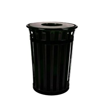 Round 40 Gallon Oakley Series Standard Steel Powder Coated Trash Can with Liner, 95 lbs.
