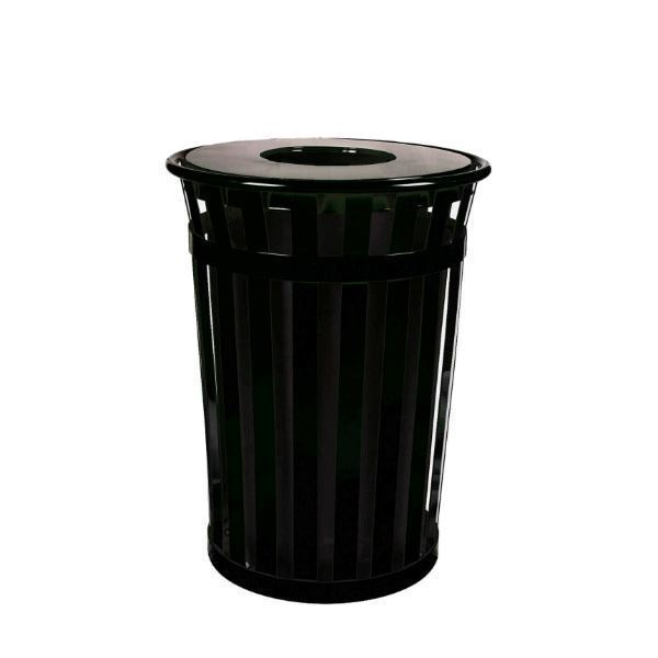 Round 36 Gallon Oakley Series Standard Steel Powder Coated Trash Can with Liner, 95 lbs.