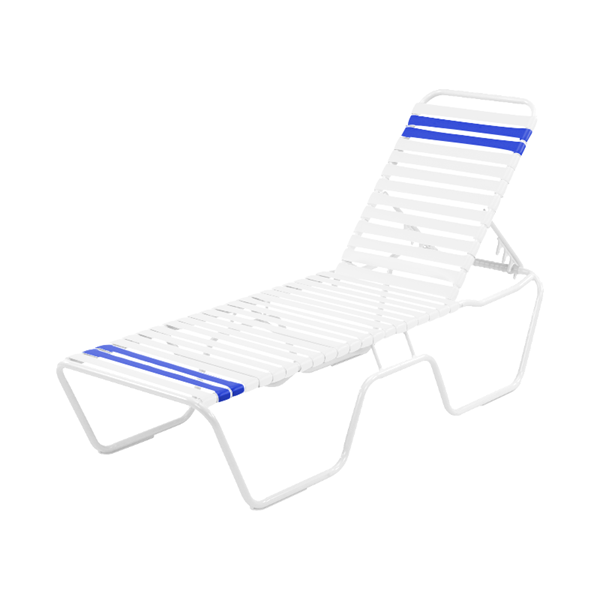 Quick Ship Pool Furniture, St. Maarten Chaise Lounge Vinyl Straps With White Stackable Aluminum Frame, White Straps