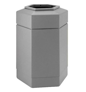 Picture of 30 Gallon Plastic Pool Deck Trash Can Hexagon, 13 lbs.