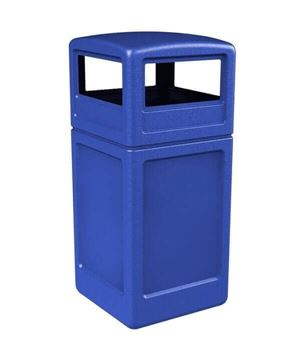 Picture of 42 Gallon Square Pool Deck Trash Can with Dome Top. 21 lbs.