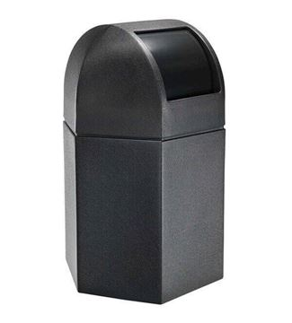 Picture of 45 Gallon Plastic Pool Deck Trash Can Hexagon with Dome Top, 25 lbs.