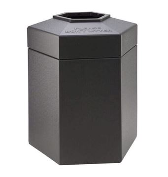 Picture of 45 Gallon Plastic Pool Deck Trash Can Hexagon, 18 lbs.