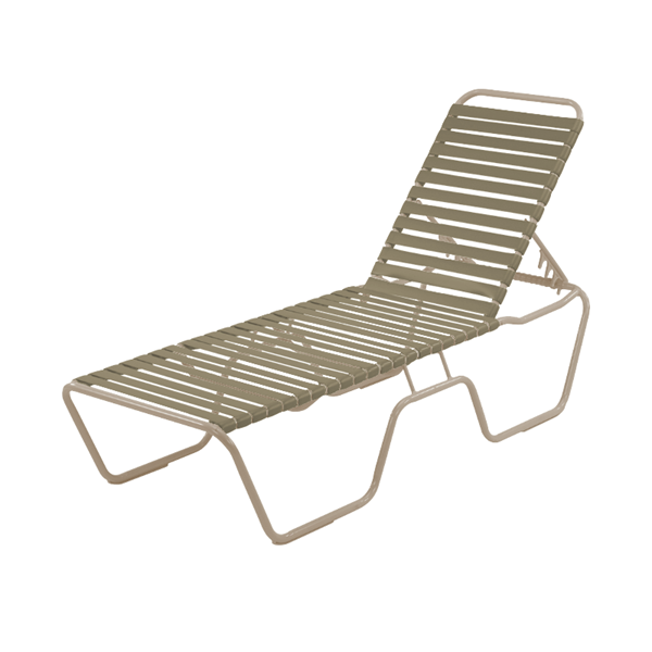 St. Maarten Chaise Lounge Vinyl Straps with Stackable Aluminum Frame