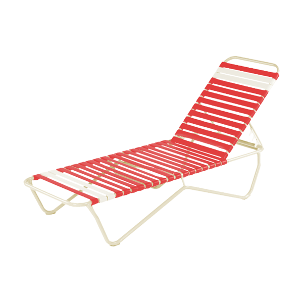 St. Lucia Commercial Chaise Lounge, Vinyl Strap Pool Furniture, Commercial Stackable Aluminum Frame