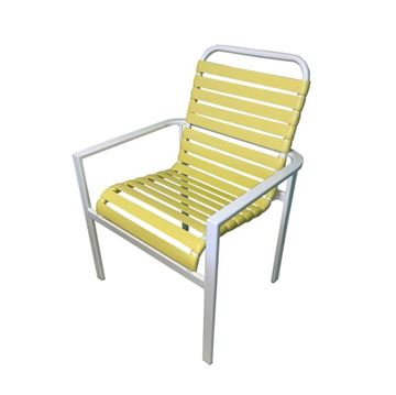 Waterside Vinyl Strap Dining Armchair - Commercial Aluminum Frame