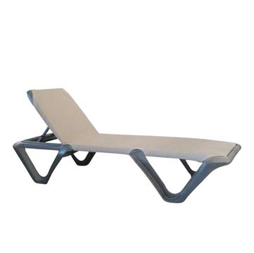 Nautical Pro Plastic Resin Sling Stackable Chaise Lounge, 35 Lbs.