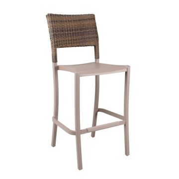 Java Stacking Barstool, Air Modeled Plastic With Wicker Back