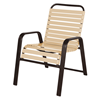 """Anna Maria Dining Arm Chair 2"""" Vinyl Strap with Stackable Aluminum Frame"""