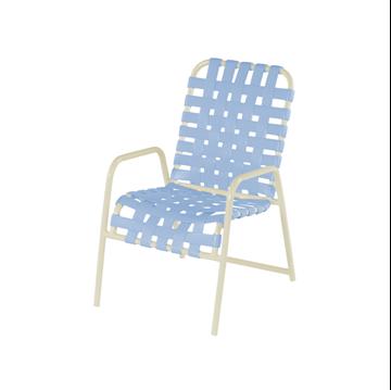 St. Maarten Cross Weave Dining Chair, Vinyl Strap with Stackable Aluminum Frame