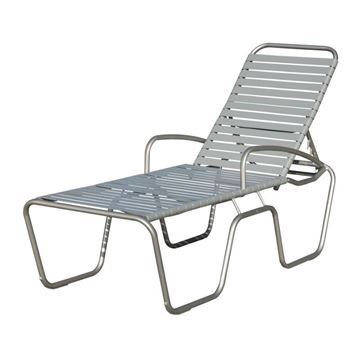 Sanibel Full-Body Vinyl Strap Chaise Lounge with Aluminum Frame - 27