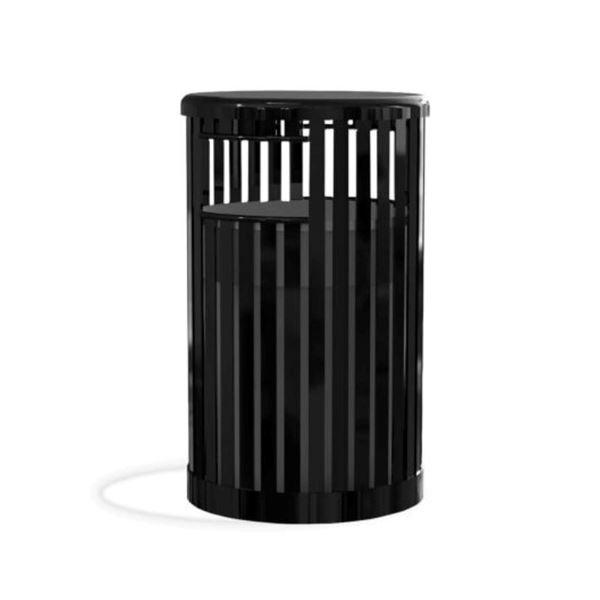 32-Gallon Trash Receptacle with Vertical Steel Slats Polyethylene Finished