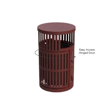32-Gallon Trash Receptacle with Vertical Steel Slats Polyethylene Finished