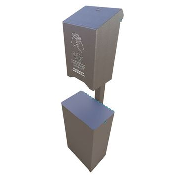 Automatic Dispenser Post Mounted Sanitation Station with 10-Gallon Trash Receptacle