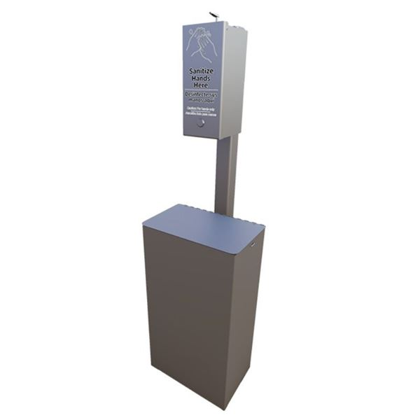 Manual Dispenser Post Mounted Sanitation Station with 10-Gallon Trash Receptacle