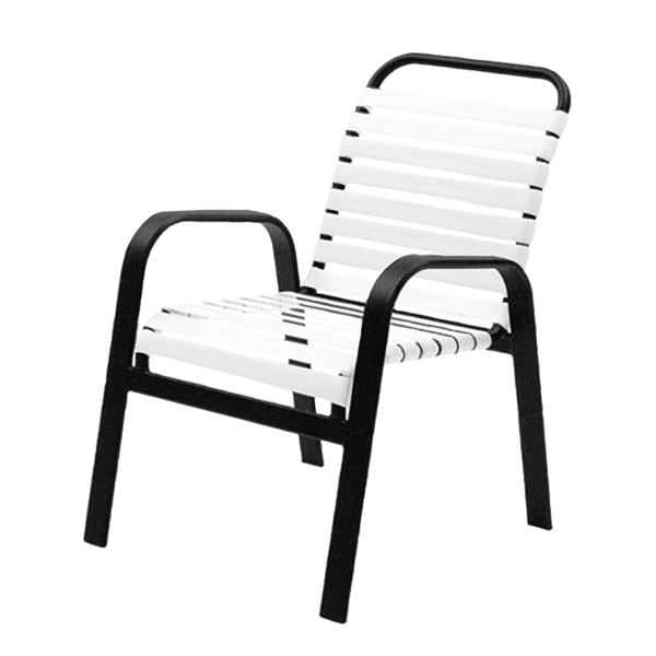 Maya Vinyl Strap Dining Chair with Stackable Aluminum Frame