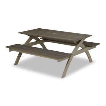 Plymouth Bay Picnic Table with Powder-Coated Aluminum Frame - 120 lbs.