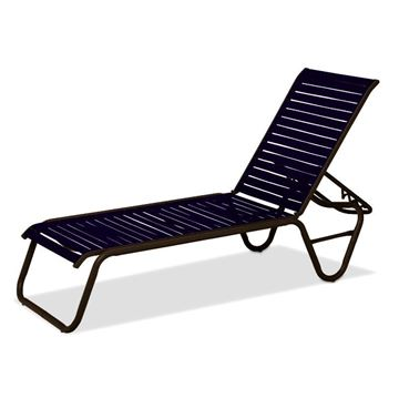Reliance Contract Vinyl Strap Stacking Chaise Lounge with Powder-Coated Aluminum - 20 lbs.