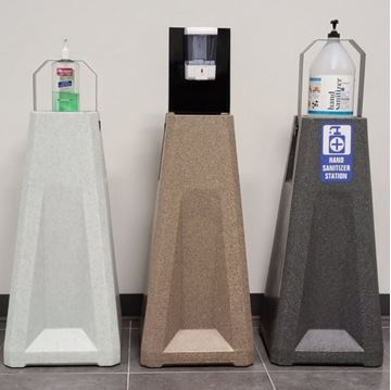 Universal Hand Sanitizer Stand - Recycled Plastic, Adjustable Bracket, Touchless Mounting Plate