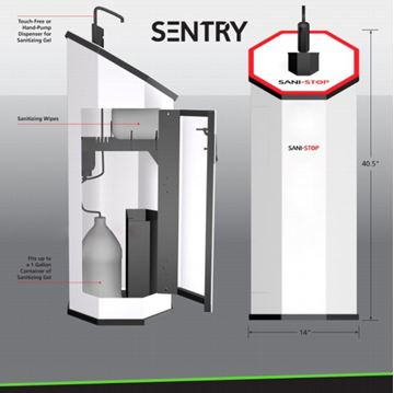 Sani Stop Sentry Hand Sanitizing Station Trash Receptacle Hand Wipe Dispenser - 29 lbs.