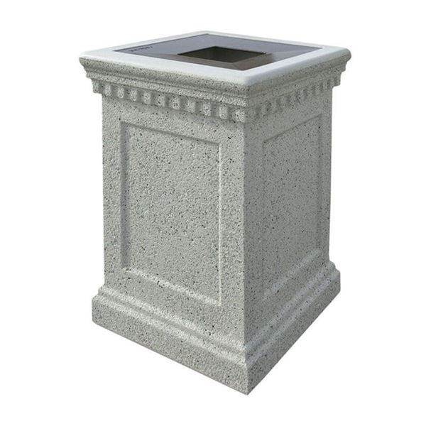 24-Gallon Colonial Waste Can with Concrete Frame and Aluminum Top - 640 lbs.