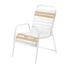 St. Maarten Dining Chair Vinyl Straps with White Stackable Aluminum Frame - Camel